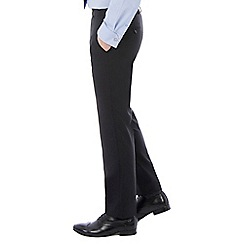 46497_0048384A: Black plain machine washable slim fit wool blend formal trouser