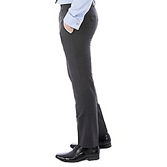 46497_0048386A: Charcoal twill machine washable slim fit wool blend formal trouser