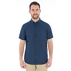 Jeff Banks - Navy dobby linen shirt