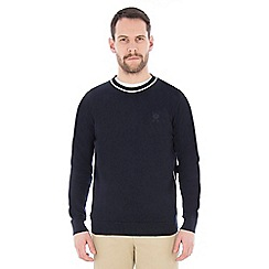 Jeff Banks - Navy piped crew neck jumper