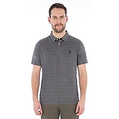 Jeff Banks - Navy tonal textured stripe polo shirt
