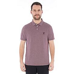 Jeff Banks - Purple square jacquard polo shirt