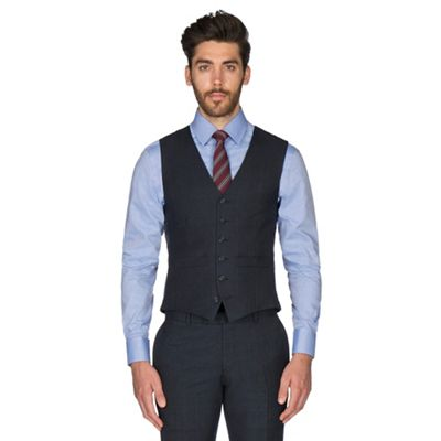 99ff0cd27b9 Hammond   Co. by Patrick Grant - Blue tonal check wool blend 6 button  tailored fit suit waistcoat