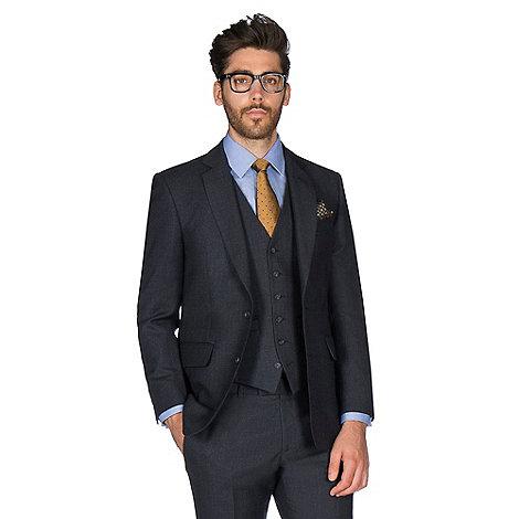 Hammond & Co. - Navy grid semi plain wool blend 2 button front tailored fit St. James suit