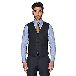 Hammond & Co. by Patrick Grant - Navy grid semi plain wool blend 6 button tailored fit suit waistcoat