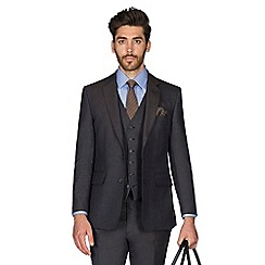 Hammond & Co. by Patrick Grant - Navy brown puppytooth wool blend 2 button front tailored fit St. James suit