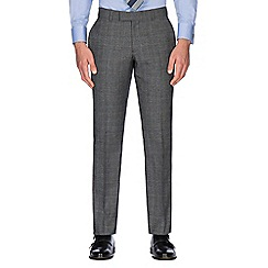 Hammond & Co. by Patrick Grant - Grey with caramel overcheck wool blend plain front tailored fit suit trouser