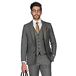 Hammond & Co. by Patrick Grant - Grey tonal brushed check wool blend 2 button front tailored fit St. James suit jacket