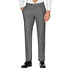 Hammond & Co. by Patrick Grant - Grey tonal brushed check wool blend plain front tailored fit suit trouser