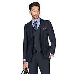 Hammond & Co. by Patrick Grant - Navy check with caramel wool blend 2 button front tailored fit St. James suit jacket