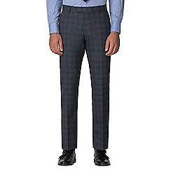 Racing Green - Blue with rust check tailored trouser