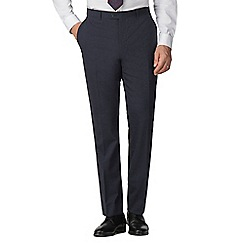 Stvdio by Jeff Banks - Blue textured flat front tailored fit performance suit trouser