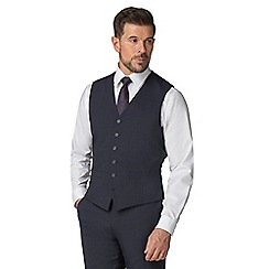 Stvdio by Jeff Banks - Blue textured 6 button tailored fit performance suit waistcoat