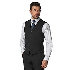 Stvdio by Jeff Banks - Grey textured 6 button tailored fit performance suit waistcoat
