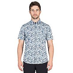 Jeff Banks - Blue stripe floral print shirt