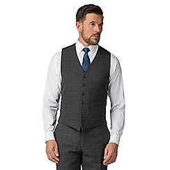 Jeff Banks - Grey check wool blend 6 button travel suit waistcoat