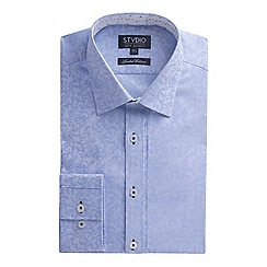 Stvdio by Jeff Banks - Limited edition light blue floral jacquard shirt