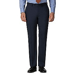 Jeff Banks - Blue semi plain wool blend flat front regular fit suit trouser