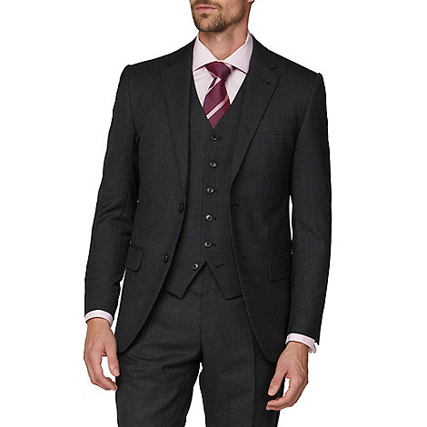 Jeff Banks - Charcoal semi plain wool blend 2 button modern regular fit suit