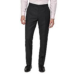 Jeff Banks - Charcoal semi plain wool blend flat front regular fit suit trouser