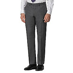 Jeff Banks - Grey semi plain wool blend flat front regular fit suit trouser