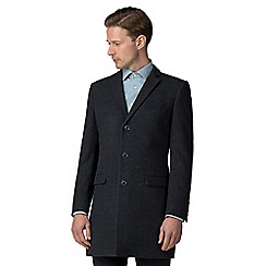 Ben Sherman - Slate blue tonal check overcoat