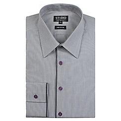 Stvdio by Jeff Banks - Grey engineered striped shirt