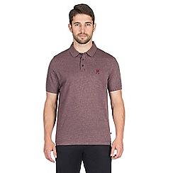 Jeff Banks - Berry grid jacquard polo shirt
