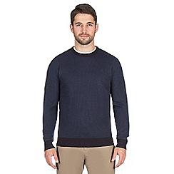 Jeff Banks - Navy textured stitch crew jumper
