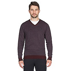 Jeff Banks - Plum double collar v neck jumper