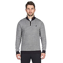 Jeff Banks - Navy textured stitch half zip jumper