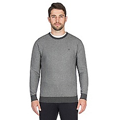 Jeff Banks - Grey zig zag stitch crew neck jumper
