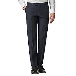 Ben Sherman - Slate blue tonal check slim fit trousers