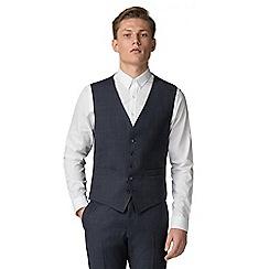 Ben Sherman - Slate blue tonal check slim fit waistcoat