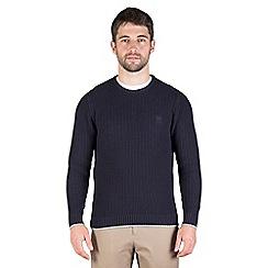 Jeff Banks - Navy chunky textured crew neck jumper
