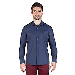 Jeff Banks - Navy checkerboard dobby shirt