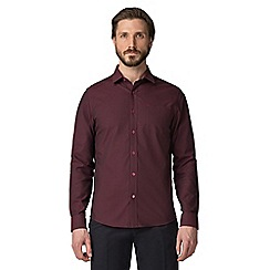 Jeff Banks - Wine checkerboard dobby shirt