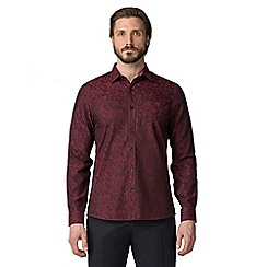 Jeff Banks - Wine swirl jacquard shirt