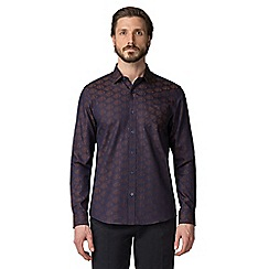 Jeff Banks - Brown floral jacquard shirt