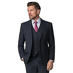 Jeff Banks - Navy textured wool blend 2 button regular fit travel suit jacket