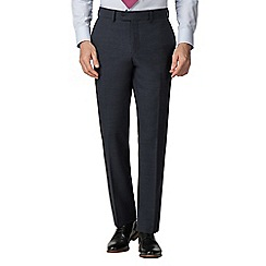 Jeff Banks - Navy textured wool blend flat front regular fit travel suit trousers