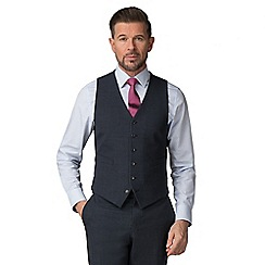 Jeff Banks - Navy textured wool blend 6 button travel suit waistcoat