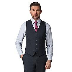 Jeff Banks - Navy Textured Wool Blend 6 Button Travel Suit Waistcoat