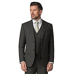 Jeff Banks - Charcoal texture wool blend 2 button travel suit jacket