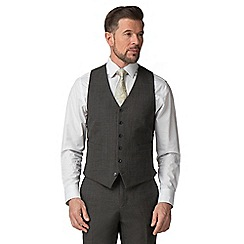 Jeff Banks - Charcoal textured wool blend 6 button travel suit waistcoat