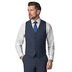 Jeff Banks - Blue check wool blend 6 button travel suit waistcoat
