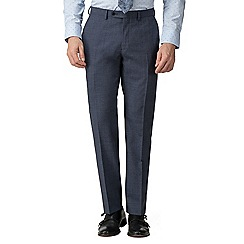 Jeff Banks - Bright blue puppytooth wool blend flat front regular fit suit trousers