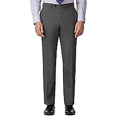 Jeff Banks - Grey textured wool blend flat front regular fit suit trousers