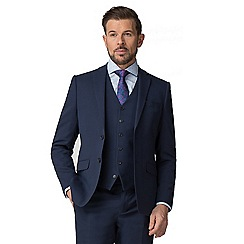 Stvdio by Jeff Banks - Blue Textured wool blend 2 button tailored fit suit jacket