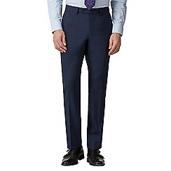 Stvdio by Jeff Banks - Blue textured wool blend flat front tailored fit suit trousers